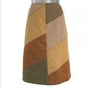 Ellen Tracy 6 Skirt ALine Square Patch Boho Unique